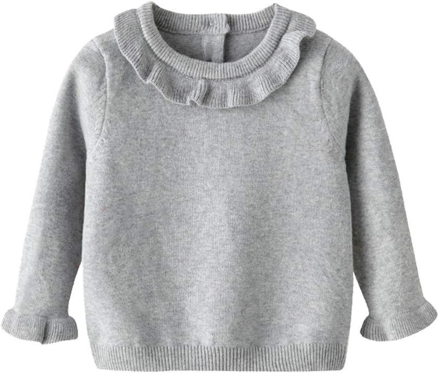 قميص علوي محاك من الملابس الشتوية للبنات الصغار من Auro Mesa قميص بلوفر بلوفر أبيض رمادي