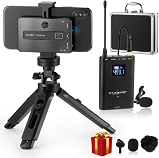 Wireless Lavalier Microphone for iPhone Android Smartphone DSLR Camera- Omni-Directional Wireless Lapel Microphone System with Built-in Chargeable Battery for YouTube Vlog Video Recording-ZHUOSHENG