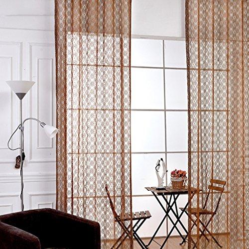 Met Love Haut de Gamme Translucide Warp Tricot Fenêtre de Criblage Moderne Et Simple Salon Moderne Baie Fenêtre Balcon Mince Fenêtre Criblage 2 Panneaux (Taille : L:3.0*H:2.7m)