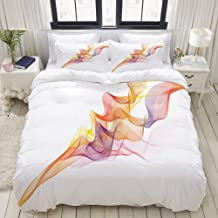 MOKALE Duvet Cover Set, Digital Design Vapor Waves as Abstract Multicolored Smoke Figure with Series of Lines, Decorative ...