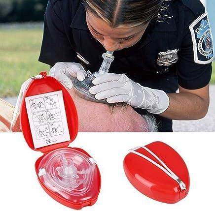 Healifty CPR Rettungsmaske Erste Hilfe CPR Taschenmaske Rettungsmaske mit Aufbewahrungstasche und Handgelenkschlaufe rot