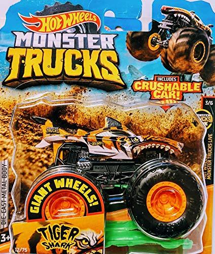 Hot Wheels Monster Jam Tiger Shark Includes Crushable Car 12/75 Monster Trucks Live 3/6