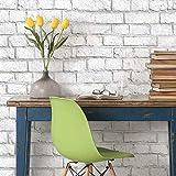 RoomMates - Papel pintado para pared, diseño de ladrillo blanco