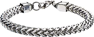 Tribal Hollywood Italian Ice Four-Cornered Franco Link Chain Steel Mens Bracelet