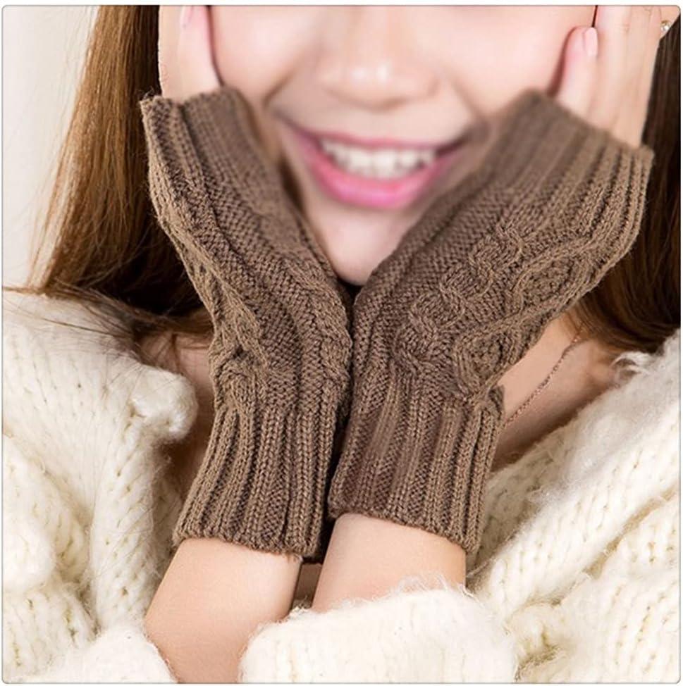 WBDL Women Winter Knit Fingerless Gloves Warm Glove Jacquard Half-Finger Mittens Elastic Short Wrist Protector