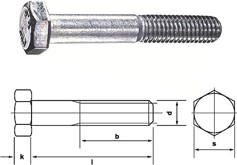 DIN 931 8.8 M10 x 260 verzinkt 25 Stk Sechskantschraube mit Schaft
