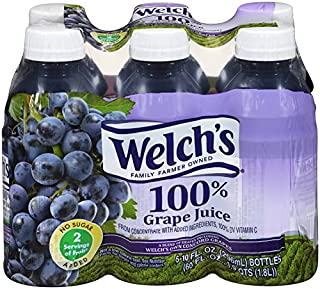 Welch's 100% Juice, Concord Grape, No Sugar added, 10 Ounce On the Go Bottles (Pack of 24)