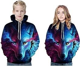 Jshuang Unisex 3D Realistic Wolf Printed Sweatshirt Kids's Pullover Novelty Hoodies Drawstring Pocket