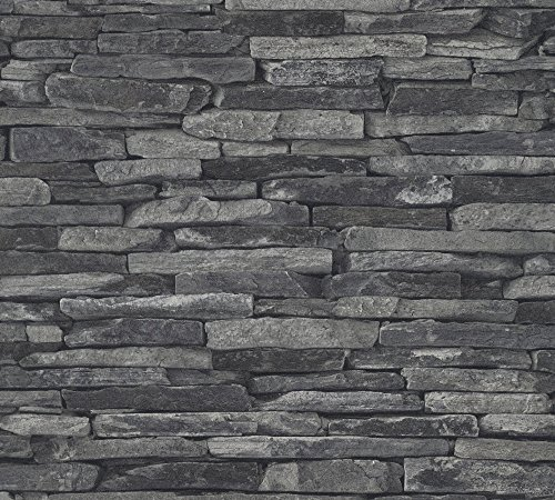 A.S. Création Vliestapete Best of Wood and Stone Tapete in Stein Optik fotorealistische Steintapete Naturstein 10,05 m x 0,53 m grau schwarz Made in Germany 914224 9142-24