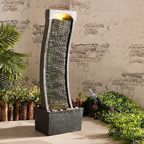 Peaktop Incurvé Ardoise intérieure de Jardin de Conservatoire de Fontaine d'eau avec des lumières RJ-19048-EU, Gris Charbon, 33 x 20 x 98 centimètres