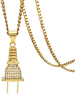 Xusamss Hip Hop Rapper Plug Pendant Ice Out Crystal Necklace,24inches Link Chain