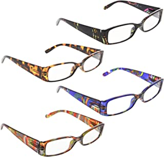 READING GLASSES 4 pack Geometric Pattern Temples Readers for Women