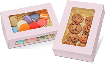 """Yotruth 9x6x2.5"""" Cookie Box with Window Gift Bakery Boxes 26 Pack Light Purple Cookie Box Pop-up Easy Assembly Treat Box"""