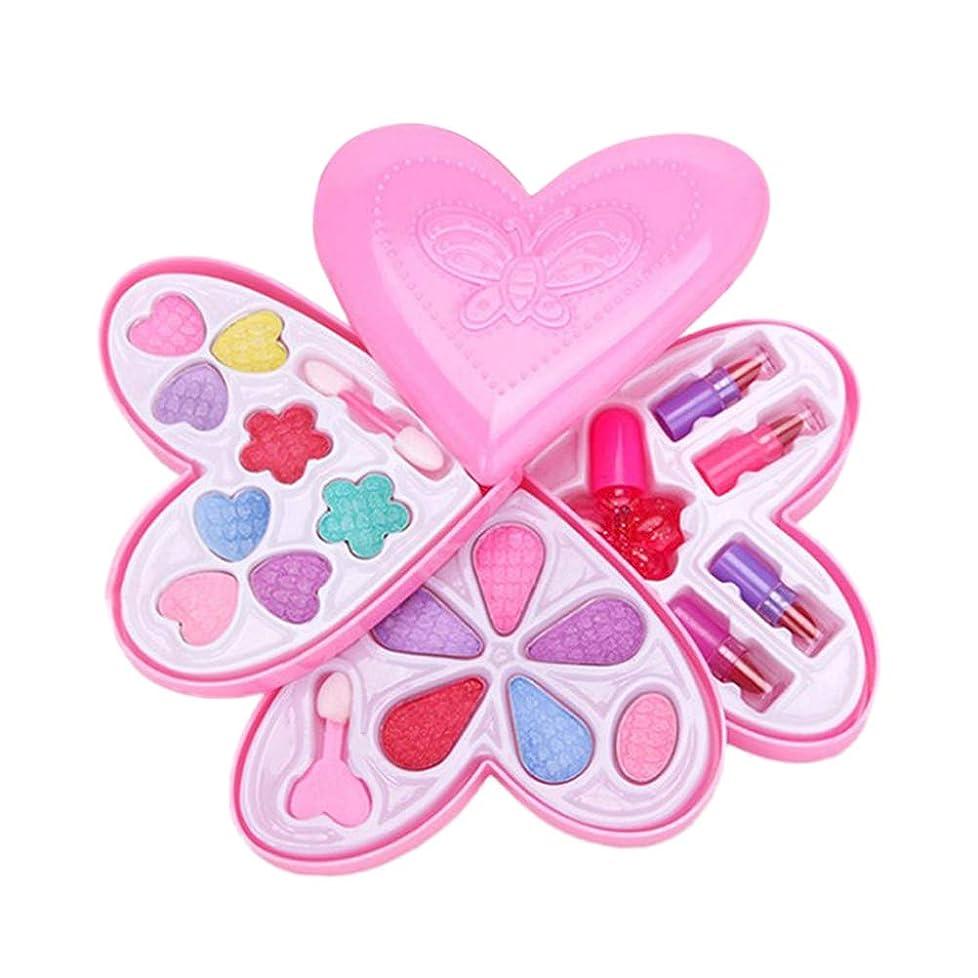 悪性腫瘍ニックネーム置換Toyvian 1pcラブハート型4層子供の前置きプレイおもちゃのメイクボックスセット玩具