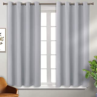 BGment Blackout Curtains for Bedroom - Grommet Thermal Insulated Room Darkening Curtains for Living Room, Set of 2 Panels (46 x 54 Inch, Light Grey)