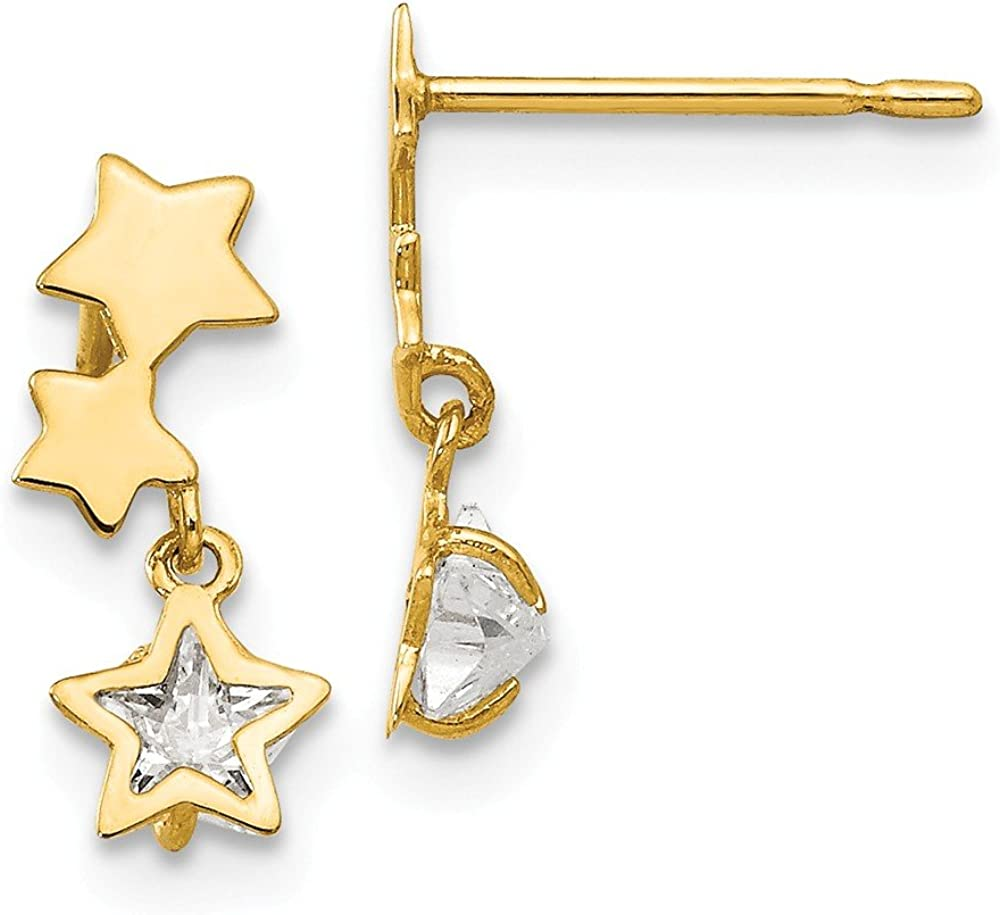 14k Yellow Gold Cubic Zirconia Cz Childrens Star Drop Dangle Chandelier Post Stud Earrings Celestial Fine Jewelry For Women Gifts For Her