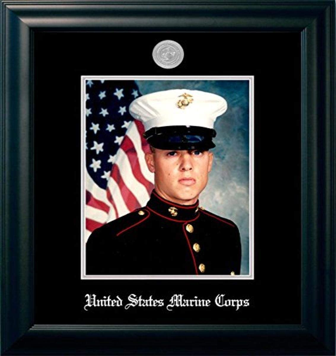 Marine Portrait Frame with Silver Max 88% OFF Medallion National products Inches 8 10 Black x