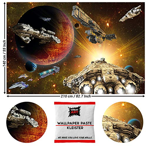 GREAT ART fotobehang fotobehang Galaxy Adventure 210 x 140 cm - 5 Teile + Kleister ruimteschip
