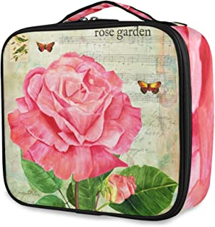 Makeup Bag Train Cases Retro Music Rose Flower Butterfly Professional Travel Cosmetic Case with Removable Dividers & Brush Section for Women