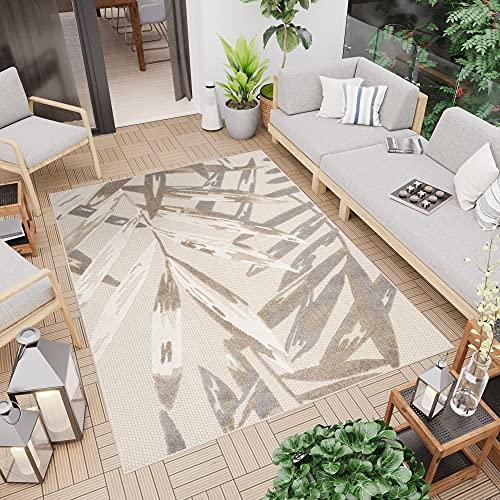 TAPISO Patio Alfombra de Terraza Cocina Externo Interno Moderno 3D Beige Crema Gris Marrón Hojas Sisal 80 x 150 cm