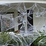 Wekon, ragnatela per Halloween, con 4 ragnetti, 100 grammi per decorazione, decorazione horror, animali, Halloween, carnevale, feste