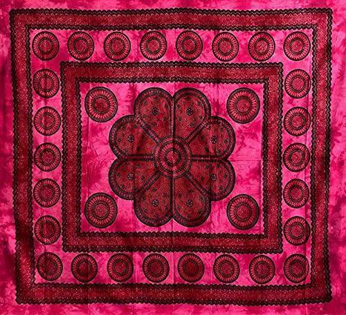 Colcha decorativa cubresofá grande Poseidon 220 x 240 cm 100% algodón cubre sofá Gran foulard batik indio (Fucsia)