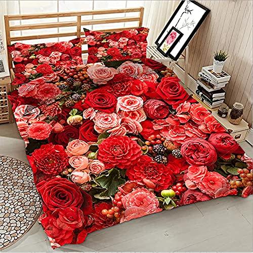 Set di biancheria da letto di lusso con stampa 3D con copripiumino a fiori margherita con federa 3 pezzi / set di tessuti per la casa singolo matrimoniale grande king size 200x200cm B-08
