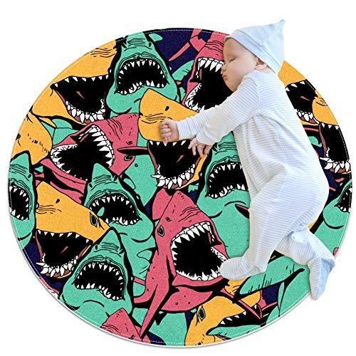 PLOKIJ Sea Life Angry Shark Tapis Rond en Coton Ultra Doux pour bébé Enfant Diamètre 27,6 x 27,6 cm, Multi01, 70x70cm/27.6x27.6IN