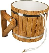 Seau de douche sauna en chêne avec insert en plastique et valve automatique 20 l