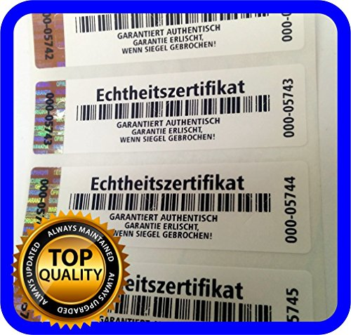 Holomarks 250 St. Echtheitszertifikat Etiketten mit Seriennummern und Hologramm, Siegel Aufkleber 70x20mm Certificate of Authenticity GERMAN TEXT