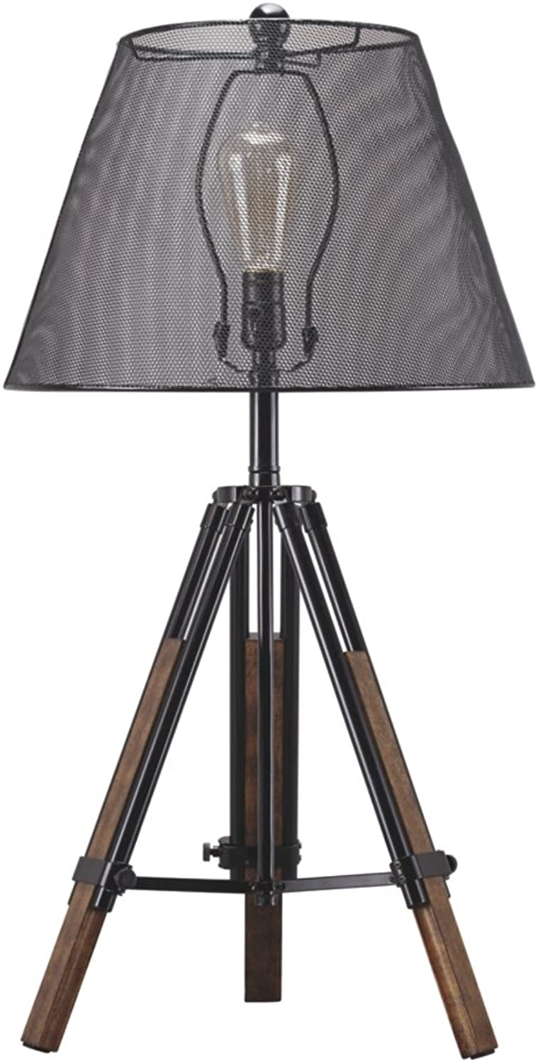 Ashley Furniture Signature Design - Leolyn Table Lamp with Metal Shade - Adjustable Height - Black Brown