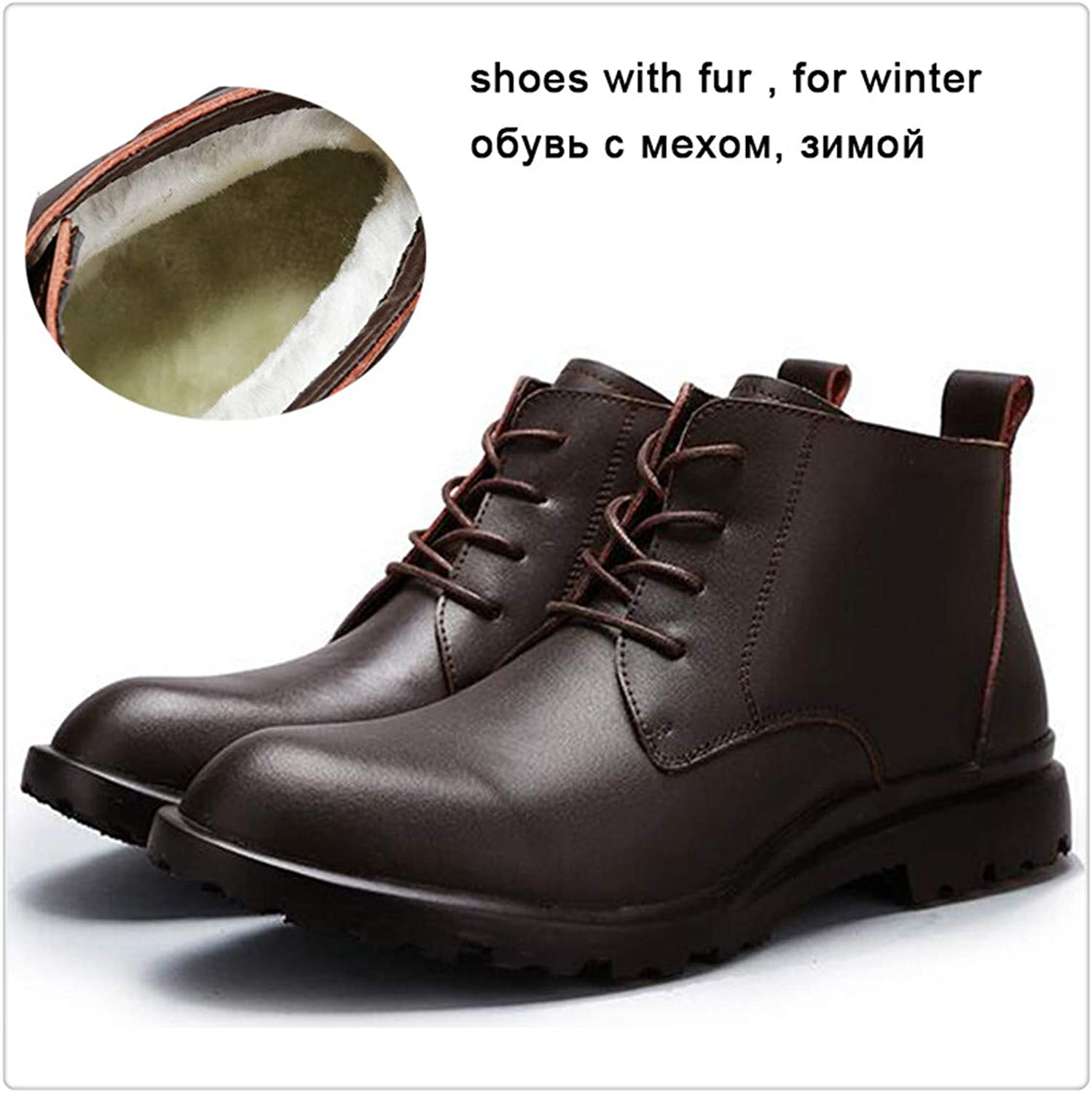 Hangwucha Winter Black Leather Fur Men's Boots Warm Ankle Boots Leather
