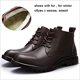 Hangwucha Winter Black Leather Fur Mens Boots Warm Ankle Boots Leather