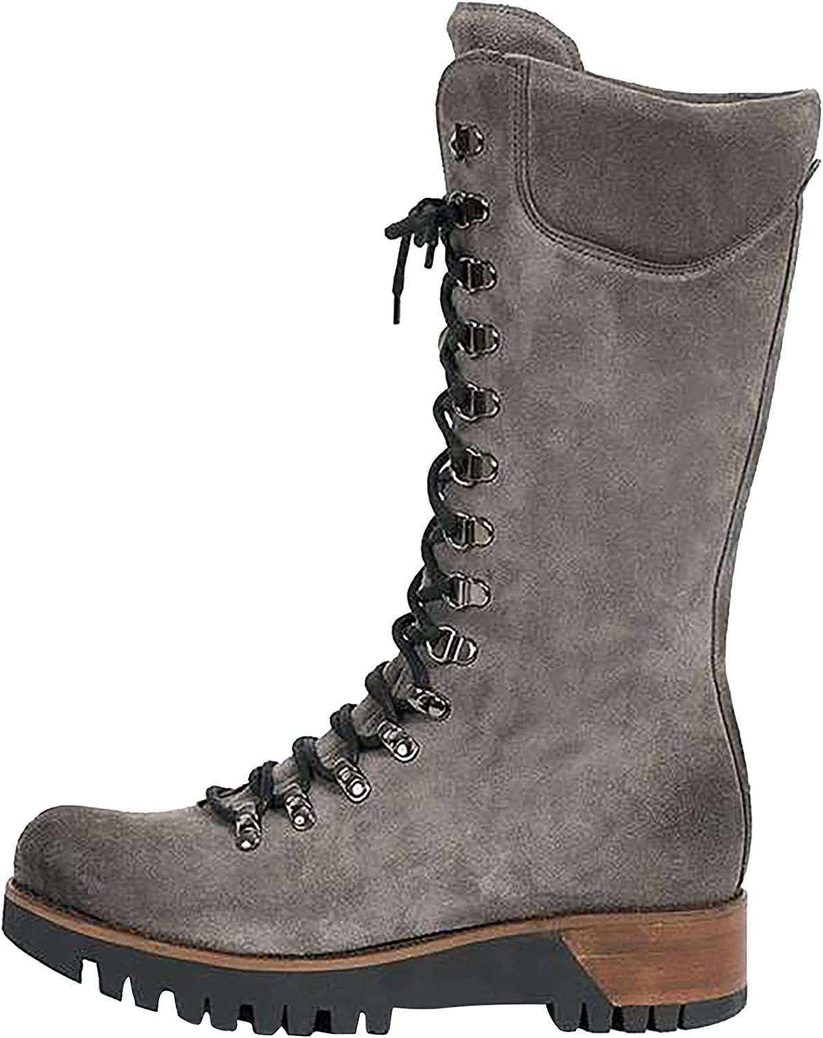 JABROCT Autumn and Winter New Women's Sexy Suede High Boots Retro Metal Decoration Front Lace Up Outdoor Knight Boots Fashion Casual No-Slip Thick Heel Middle Boots