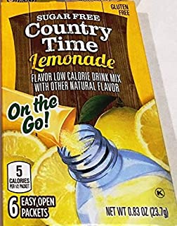 Country Time Lemonade On-the-Go Packets, 6-Count Boxes (Pack of 12)