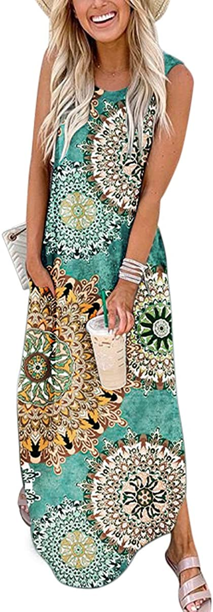ANRABESS Women's Casual Loose Sundress Long Dress Sleeveless Split Maxi Dresses Summer Beach Dress with Pockets