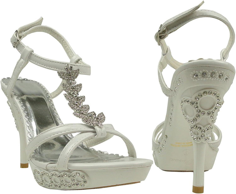 Generation Y Women's High Heels Platform Dress Sandals Angel Wing Rhinestones T Strap