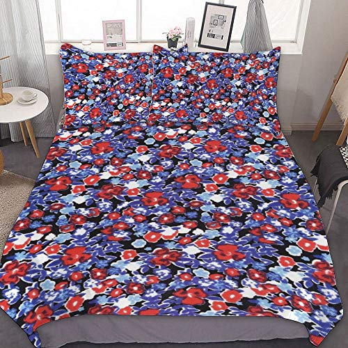 JamirtyRoy1 Duvet Cover Set Twin Size, DITSY FLORAL PRINT, RED BLUE FLORAL, Decorative 3 Piece Bedding Set with 2 Pillow Sham, Without Sheets