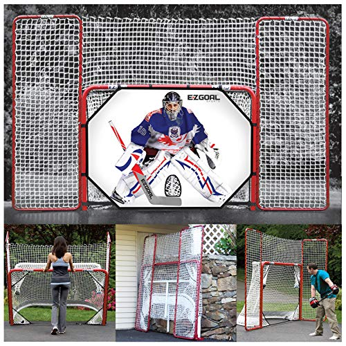 EZGoal 4' x 6' Hockey Folding Steel 2' Goal with 11' x 6'6' Backstop, 4 Targets Nets, a New Shooter Tutor and Wheels to Help Move The Goal