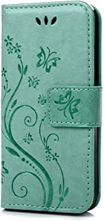 Samsung Galaxy S4 i9500 / GT - i9505 Case,C-Super Mall PU embossed butterfly & flower Leather Wallet Stand Flip Case for S...