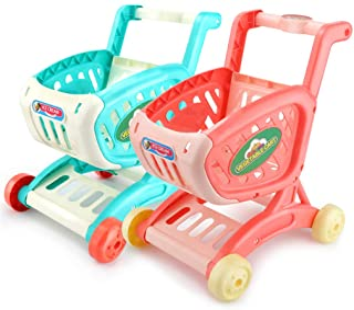 Ulalaza 2 st barn shoppingvagn leksak låtsas leka matvarukorg leksaker roliga presenter för pojkar och flickor