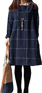 Women Dress Spring Autumn Casual Hemp Plus Size Long Sleeve Dresses