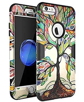 iPhone 6 Plus Case,iPhone 6S Plus Case,SKYLMW [ Shock Resistant Series ] Hybrid Rubber Case Cover for iPhone 6 Plus,iPhone 6S Plus 3in1 Hard Plastic +Soft Silicone Tree Black