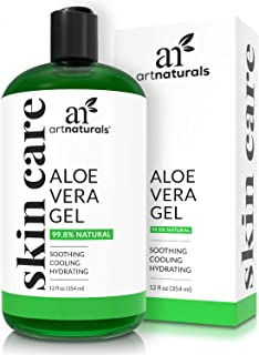 ArtNaturals Organic Aloe Vera Gel - (12 Fl Oz / 355ml) - for Face, Hair and Body - 100% Pure Cold Pressed - for Sun Burn, Eczema, Bug or Insect Bites, Dry Damaged Aging skin, Razor Bumps and Acne
