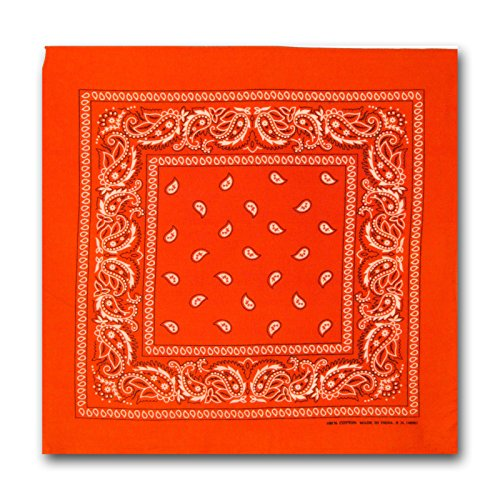 L&M 12Pcs Bandanas 100% Cotton Paisley Print Head Wrap Scarf Wristband (Orange)