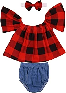 Doding Baby Girl Clothes Off Shoulder Plaid Tube Tops Denim Shorts with Headband Summer Outfits Set