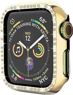 Hankn カバー 対応 Apple Watch ケース 44mm, ダイヤモンド メッキ ブリンブリン 硬いPC カバー 耐衝撃性 脱着簡単 傷付き保護プロテクターバンパー iWatch アップルウォッチ シリーズ Series 5 4 (4...