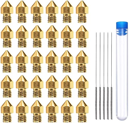 AJSPOW 30PCS 0.4mm 3D Printer Extruder Brass Nozzles for Makerbot MK8 Creality CR-10 Ender 3 3Pro 5 with 5PCS 0.4mm S...