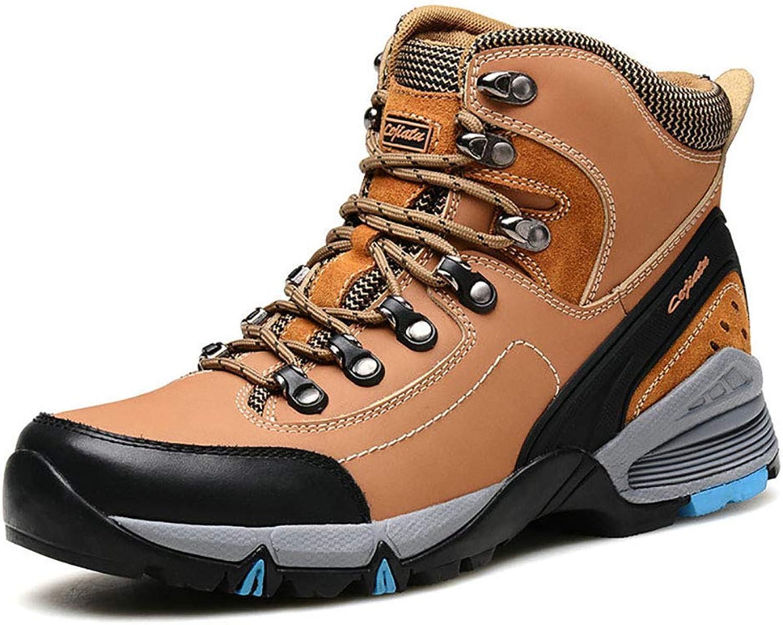 Outdoor Hiking shoes Mens Terrain Lace UP Premium Leather Upper Waterproof Walking Hiking Trekking Boot,Yellow,40