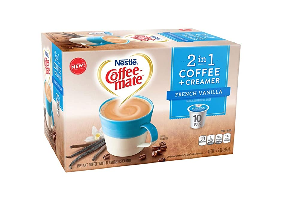 Coffeemate 2 in 1 Coffee & Creamer French Vanilla Medium Roast Coffee K-cup 10 pods, pack of 1